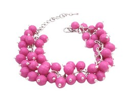 Handmade Artisan Jewelry Cluster In Beautiful Pink Beads Chic Bracelet - $11.43