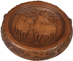 MOUNTAIN Tray Rustic Deer Pair Resin Hand-Painted Hand-Cast - $109.00