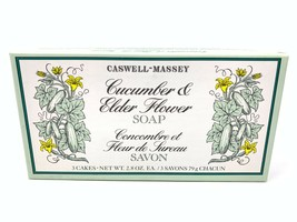 Caswell-Massey Cucumber & Elder Flower Bath Soap Bar Set New in Box 3 Ca... - $49.49