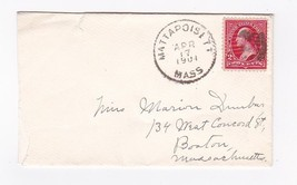 MATTAPOISETT, MASS. APRIL 17 1901 ON 2C RED WASHINGTON SMALL ENVELOPE - $2.98