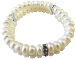 Double Stranded Stretchable Freshwater Pearls Wedding Rondell Bracelet - $12.08