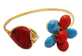 Classy Gold Cuff Bracelet Turquioise & Coral Stones Embedded Bracelet - $13.38