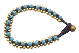 Golden Beads Bracelet Accented Cord Wax Turquiose Stone Embedded - $10.13