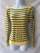 Ralph LAUREN JEANS COMPANY Womens Yellow Navy Blue Cotton Ribbed Sweater L - $24.74
