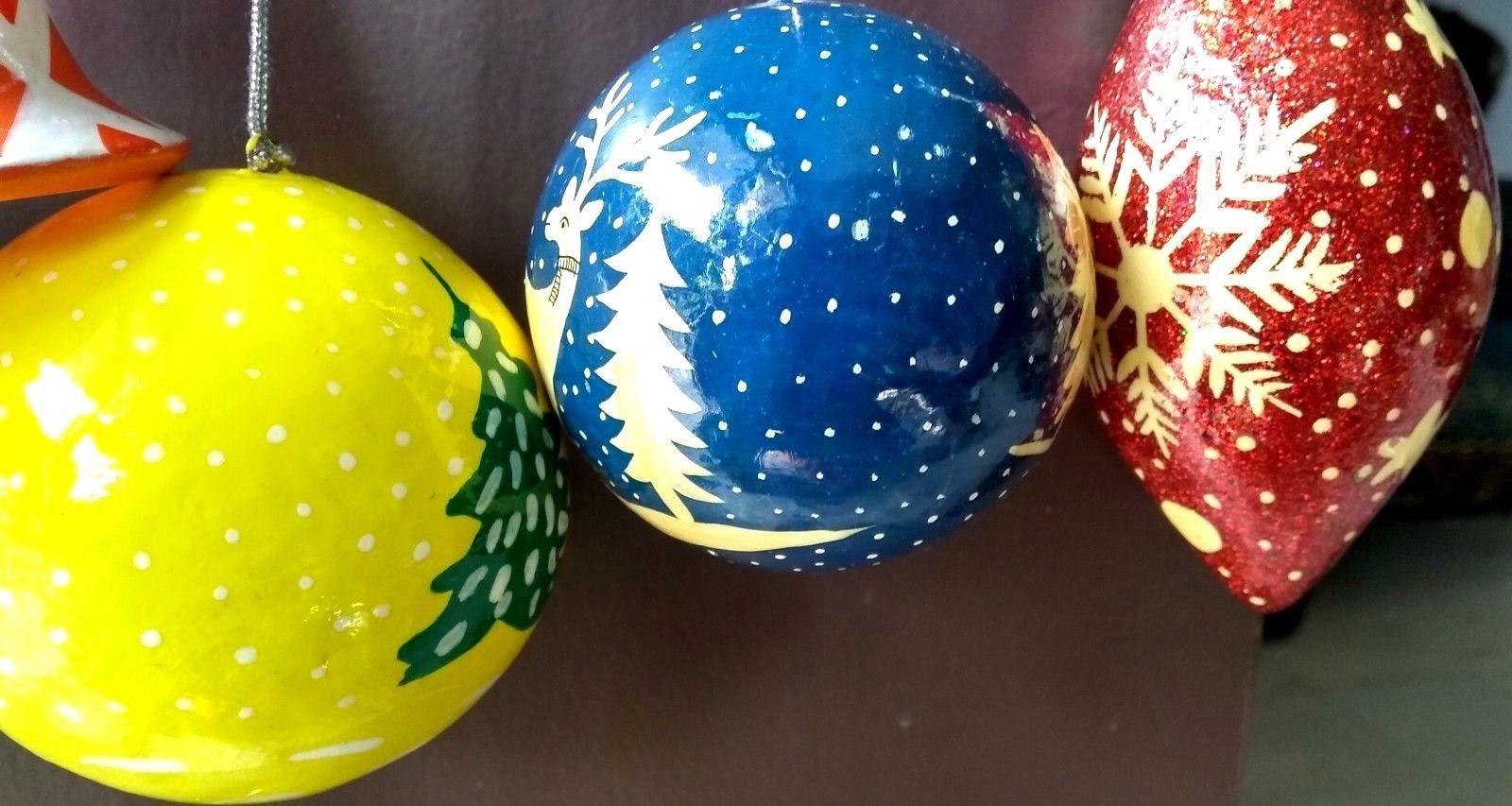 6 pc Christmas tree decoration ornaments paper mache balls bells heart star
