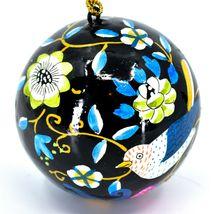 Asha Handicrafts Painted Papier-Mâché Birds on Black Holiday Christmas Ornament image 5