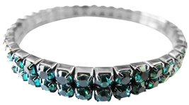 Green Cubic Zircon Stretchable Bracelet Embedded Round Double Strings - $10.15
