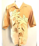 Tommy Bahama Linen Shirt L Floral Summer Hawaiian Orange Hula Girl Flora... - $29.65