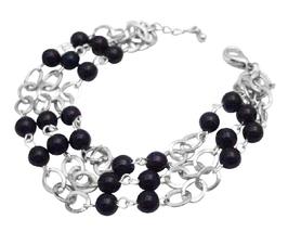 Black Pearls Cubic Zircon Stud Three Stranded Fashionable Bracelet - $10.13