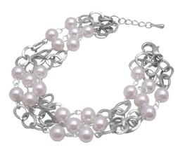 Soothing White Pearls Striking w/ cubic Zircon Gorgeous Sleek Bracelet - $10.13