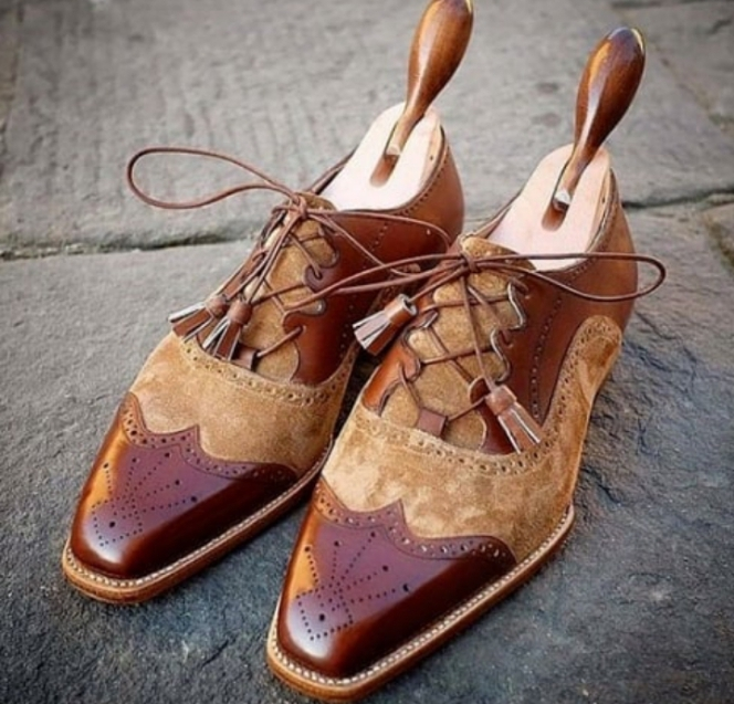 Handmade Men's Brown Leather Beige Suede Wing Tip Stylish Oxford Shoes