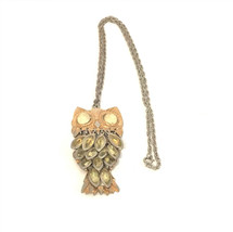 Vintage Owl Big Gold Eyes Feathers Womens Necklace - $19.99