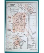TUNISIA Sousse Susa  City Town Plan - 1911 BAEDEKER MAP - $12.60