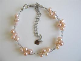 Peach Freshwater Pearls White Pearls 3 Stranded Wire Bracelet - $11.43