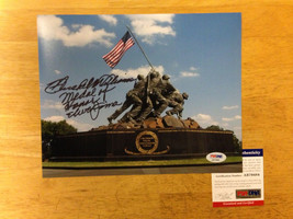 Signed 8x10 photograph of Hershel Williams PSA DNA WWII Iwo Jima Medal o... - $142.50