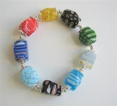 Colorful Millefiori Beads Stretchable Bracelet w/ Bali Silver Spacer - $12.08
