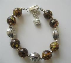 Olivine Amber Resin Beaded Bracelet w/ Rhodium Traditional Bracelet - $12.73