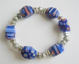Millefiori Blue Beads Stretchable Bracelet w/ Different Shape & Size - $15.98