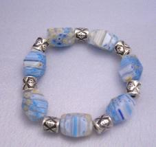 Beautiful Shades Of Blue Millefiori Stretchable Bracelet - $12.73