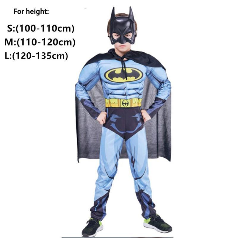 Boys Muscle Super Hero Captain America Costume Spiderman Batman Hulk Avengers
