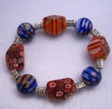 Shades Of Red & Blue Millefiori Stretchable Bracelet - $12.73