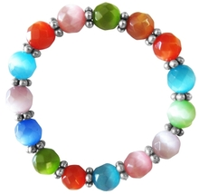 MultiColor Cat Eye Stretchable Bracelet 9mm Faceted Bead Daisy Spacing - $13.38