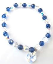 Dark Indigo Crystals With Shadow Swarovski Crystals Bracelet AB Crysta - $28.98