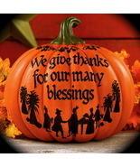 """Give thanks"" Pumpkin Blessings Thanksgiving harvest Fall Autumn Home de... - $23.98"