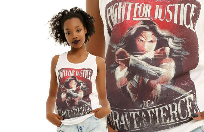 Primary image for Wonder Woman Fight For Justice Be Brave & Fierce Tank Top Ladies Junior