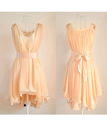 Angelic Spring. Peach Chiffon Wavy Hem Sleeveless Dress. Bridesmaids Dress - $97.00