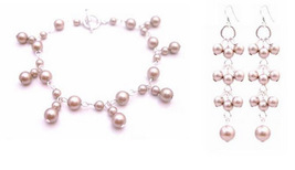 Match Your Jewelry Champagne Bracelet Earrings Bridesmaid Pearls Set - $28.33