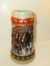 Collectible Vintage 1994 Budweiser Christmas Beer Stein Hometown Holiday - $25.00