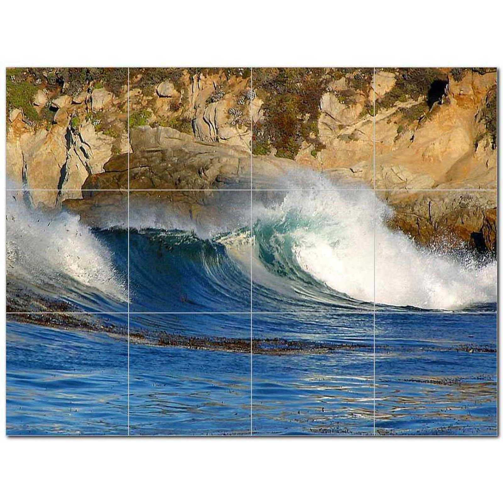 Primary image for Wave Photo Ceramic Tile Mural Kitchen Backsplash Bathroom Shower BAZ406297