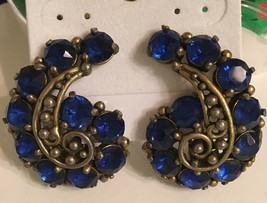 "Vintage signed Hollycraft Cobalt Blue clip on earrings 1 1/4"" - $34.00"