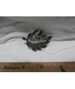 "Vintage Costume Jewelry  2"" Wide Brooch Smoke Colored Stones - $29.35"