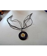 "5 strand 16"" beaded necklace with painted black shell pendant with daisy... - $8.00"