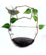 Twisted Wrought Iron Metal Hanging Bird Feeder Ivy Leaves Nest & Figurine - $20.00