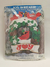 "NEW Design Works Crafts 13""x16"" Winter Felt Christmas Joy Wreath Cardina... - $11.60"
