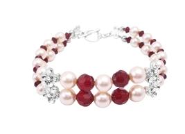 Wedding Design Jewelry Siam Red Swarovski Crystals & Cream Pearls Gift - $39.38