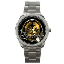 NFL Pittsburgh Steelers Logo Custom Sport Metal Men Watch  - $15.00