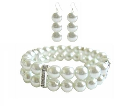 White Pearl Double Stranded Stretchable Bracelet & Matching Earrings - $18.58