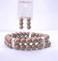 Bridemaides Bracelet & Earrings Simulated Brown Pearl Double Stranded - $18.58