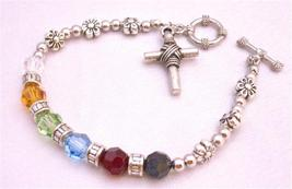 Sterling Silver 92.5 Cross Charm Salvation Austrian Crystals Bracelet - $27.68