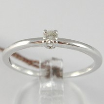 White Gold Ring 750 18k, Solitaire Shank Square with Diamond, Carats 0.07 image 1