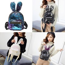 Rabbit Ears Sequins Shoulder Bag Cute Women Girls Backpack Small Travel ... - ₹1,435.20 INR