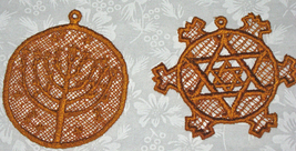 Two Lace Round Ornaments, a Menorah and a Star of David, Gold in color - $4.50