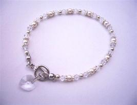 Heart Charm Swarovski Clear Irridscent Crystal w/ White Pearls And Bal - $19.23
