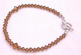 Brown Dress Smoked Topaz Crystals Bracelet Wedding Jewelry - $18.58