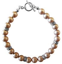 Customize Wedding Champagne Pearls Bracelet Spacer Silver Rondells - $25.08