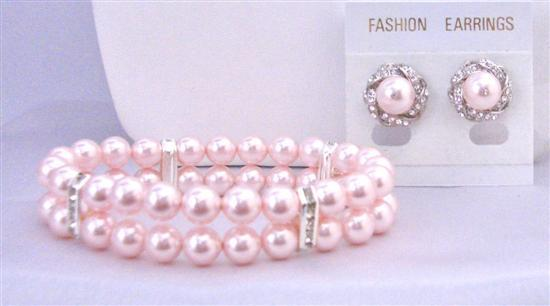 Double Stranded Rosaline Pink Pearls Bracelet with Matching Earrings
